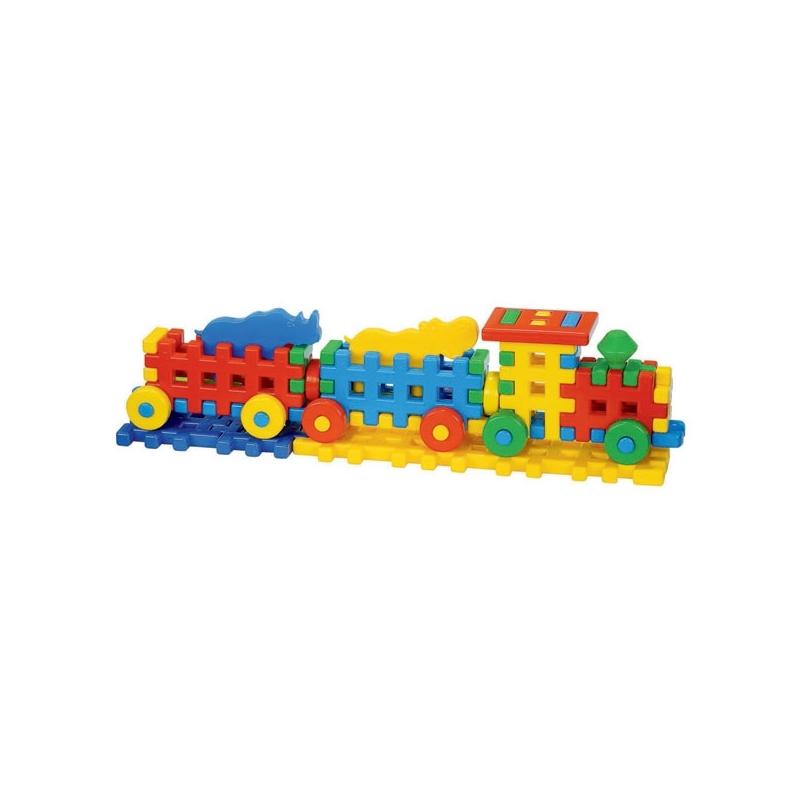Cuburi constructii, 56x10,3x15 cm, Locomotiva - Tupiko