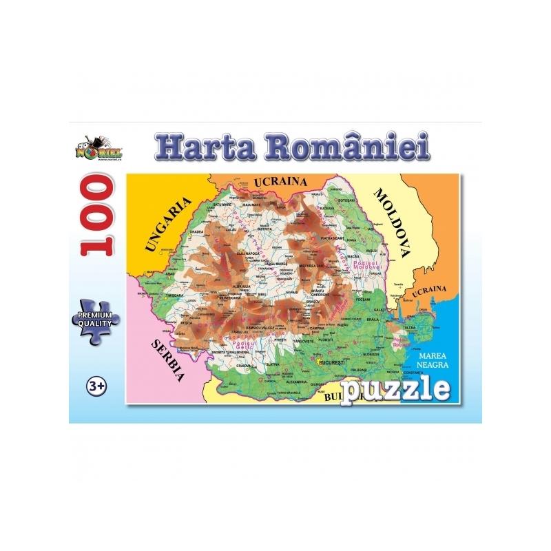Puzzle 100 piese Harta Romaniei
