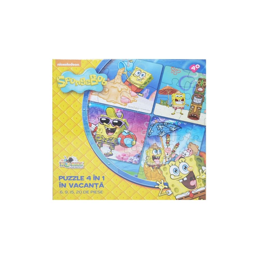 Puzzle 4 in 1 Spongebob - In vacanta - 6,9,15,20
