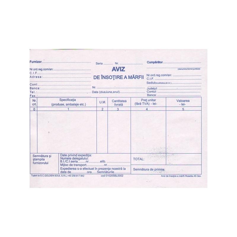 Aviz A5, 150 file, autocopiativ, 3 exemplare