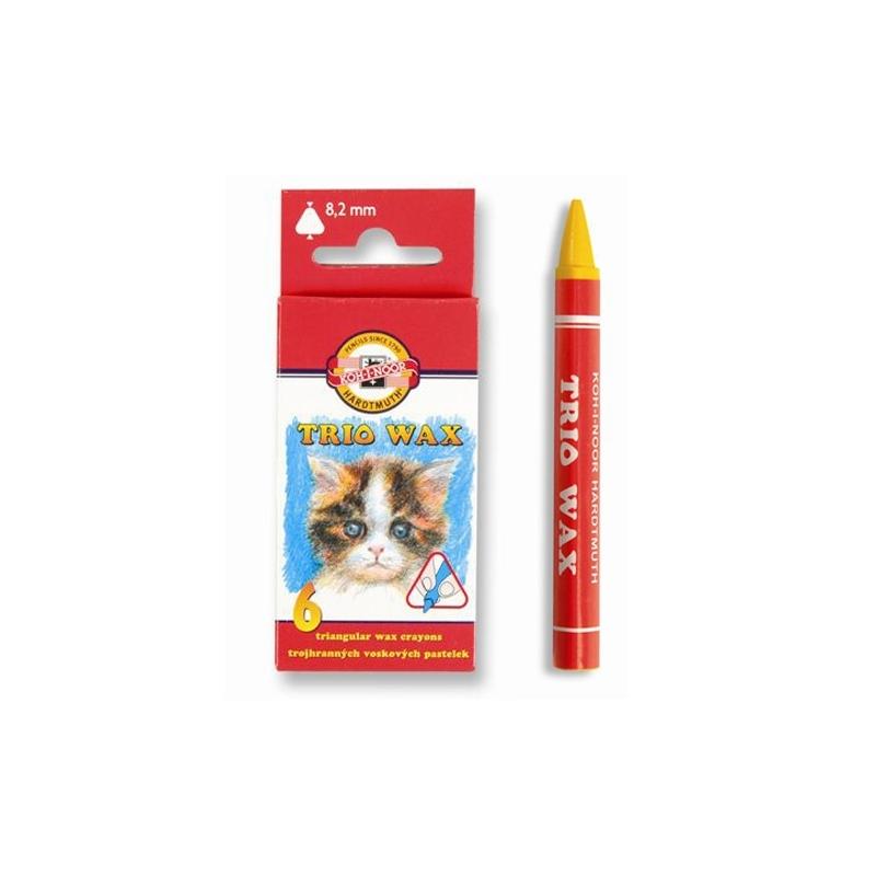 Creioane cerate triunghiulare 6 buc|set - Koh-I-Noor