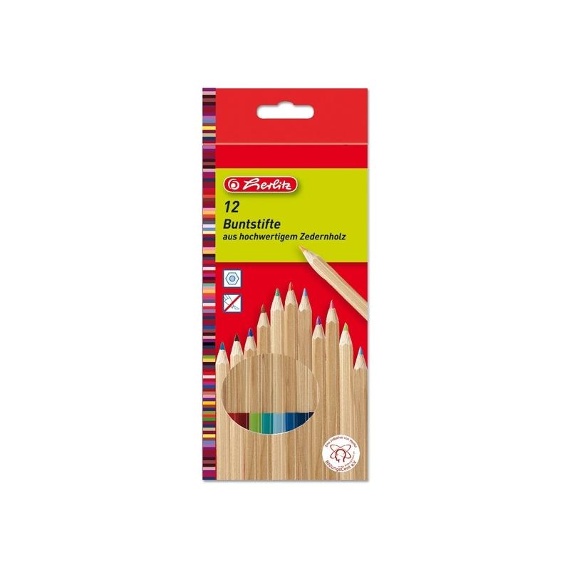 Creioane color lemn cedru set 12 bucati