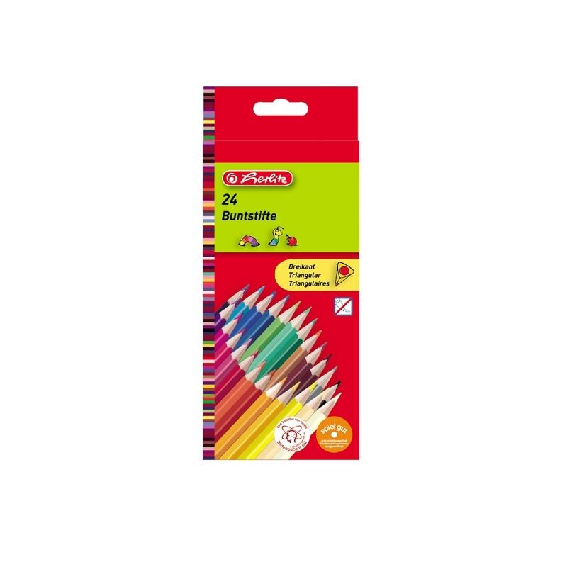 Creioane color triunghiular 1|1 set 24 bucati