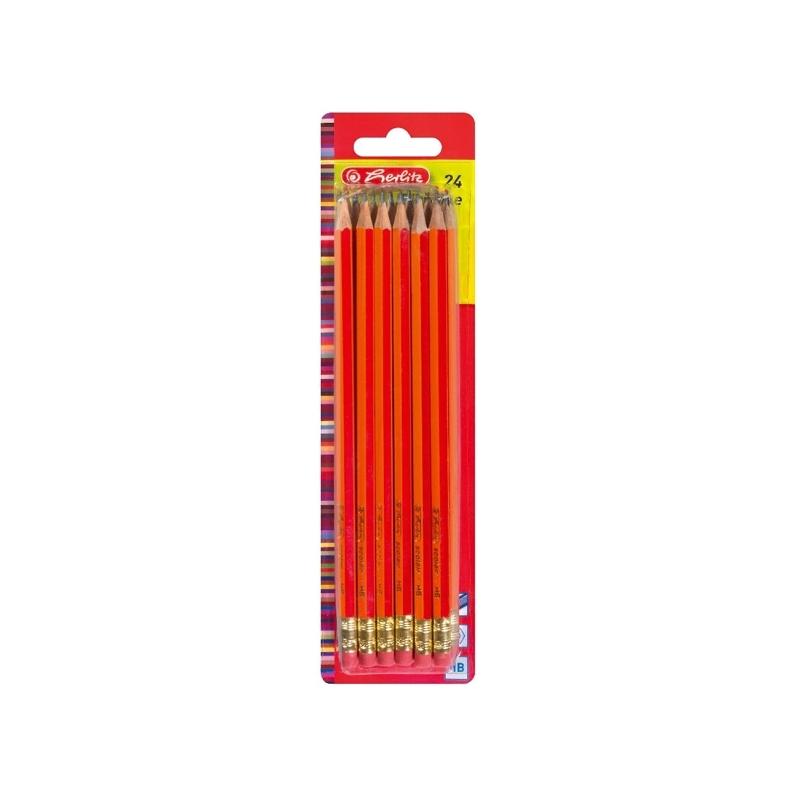 Creioane grafit cu radiera mina HB lacuite rosu set 24 bucati