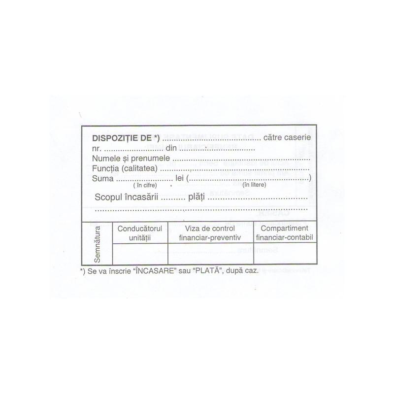 Dispozitie de casierie A6, 100 file