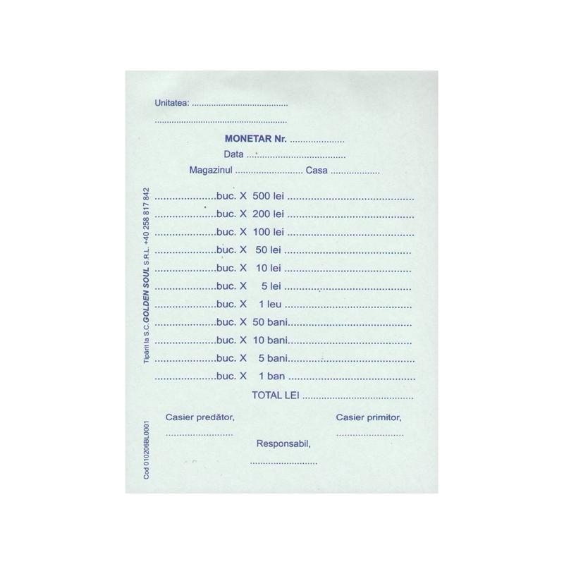 Monetar A6, autocopiativ, 2 exemplare, 100 file