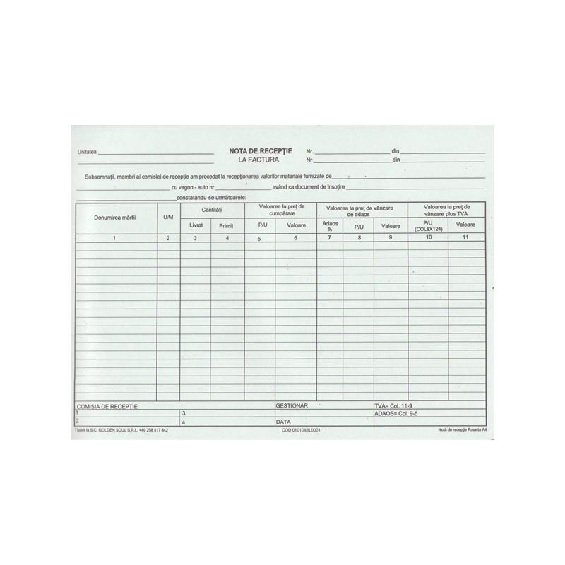 Nota de receptie A4, 100 file, autocopiativa, 2 exemplare