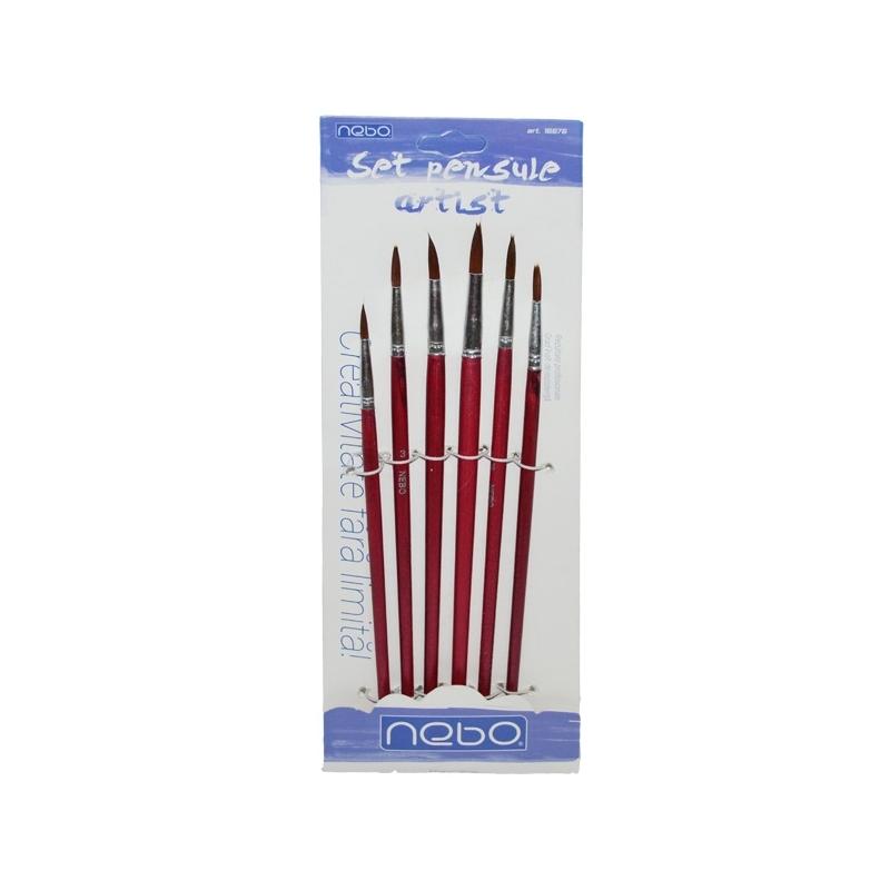 Pensule varf rotund 6 buc set - NEBO