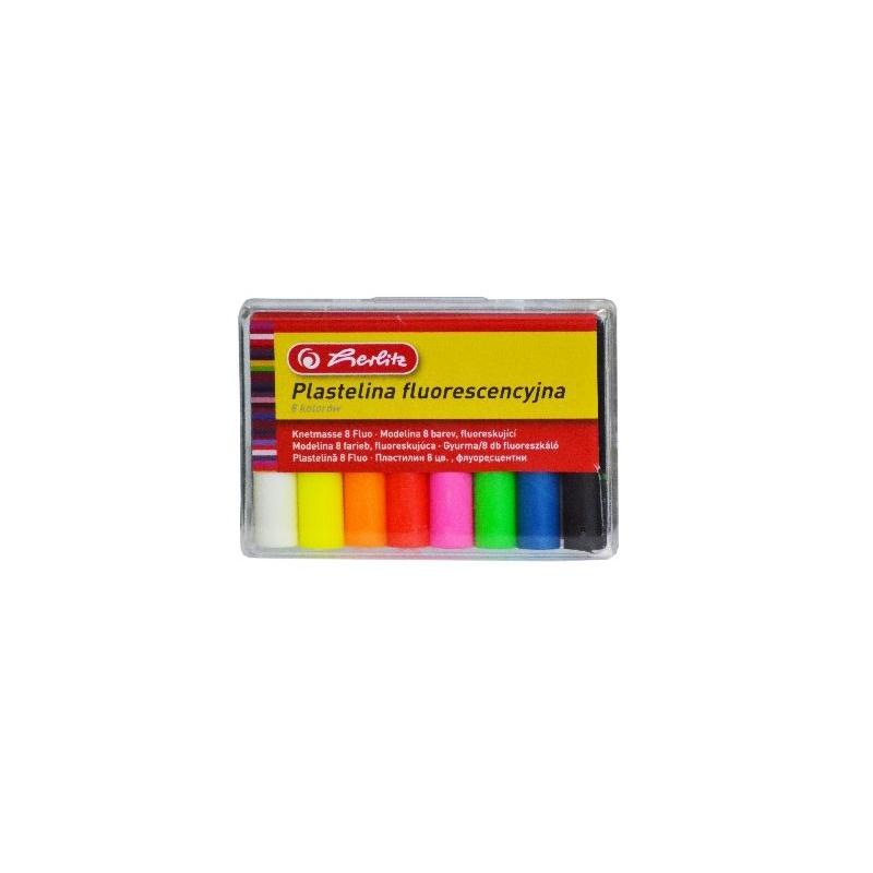 Plastilina Herlitz set 8 culori fluorescente