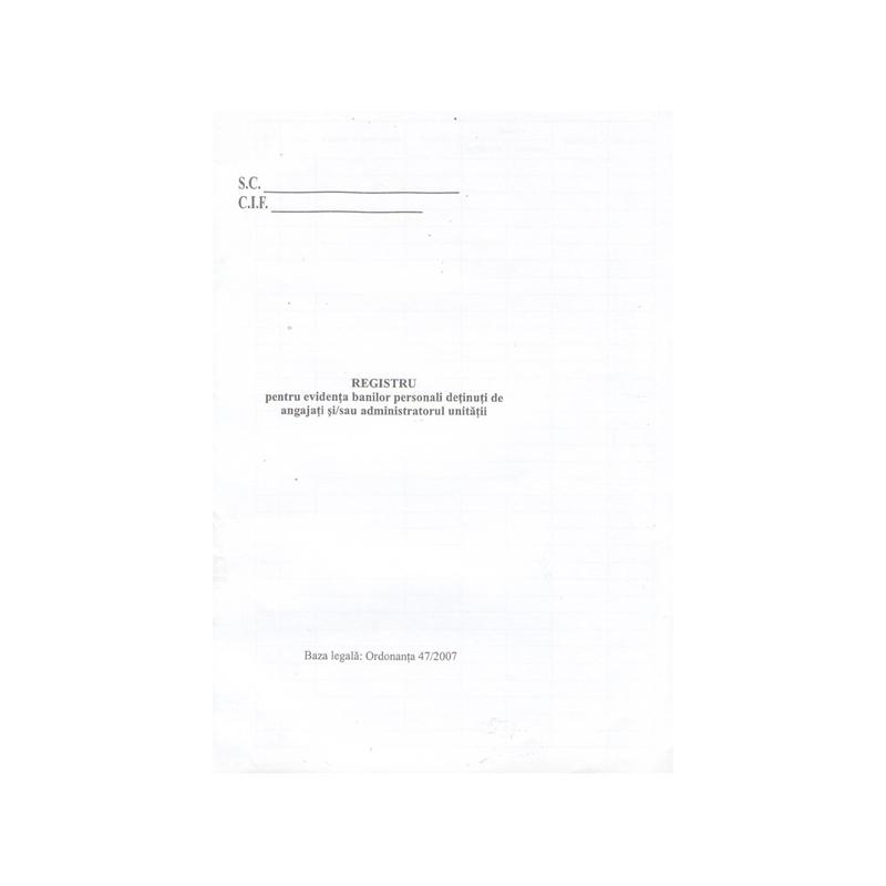 Registru de bani personali A4, 100 file