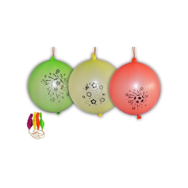 Baloane multicolore, cu elastic, 50 buc/set