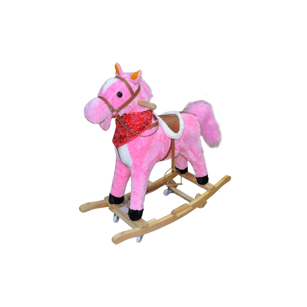 Calut balansoar, lemn+ plus, roz, cu rotile