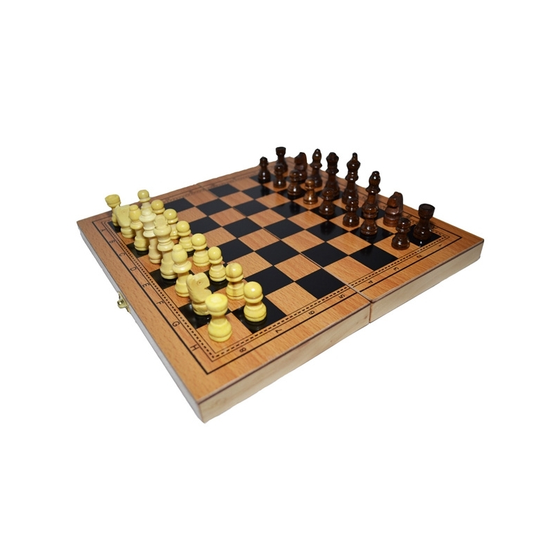 Joc 3 in 1: Sah, table, dame! Cutie lemn, 29x15cm