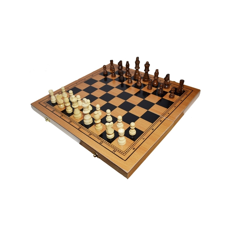 Joc 3 in 1: Sah, table, dame! Cutie lemn, 40x19cm