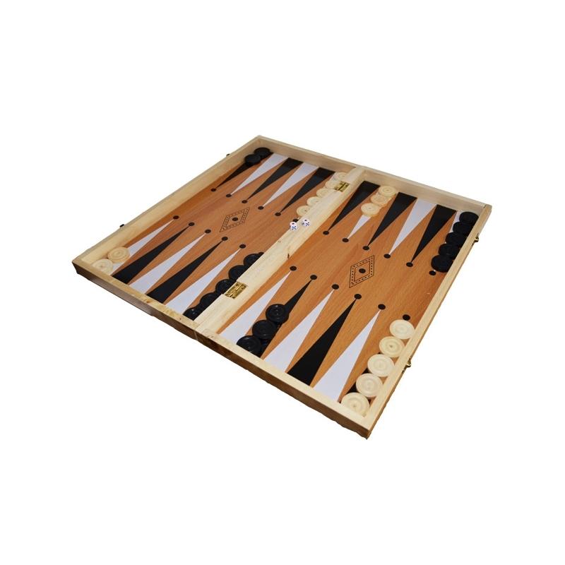Joc 3 in 1: Sah, table, dame! Cutie lemn, 47x25cm