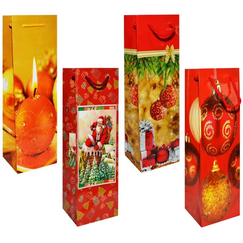 Punga cadou Craciun, pentru sticle, 10x33x9 cm