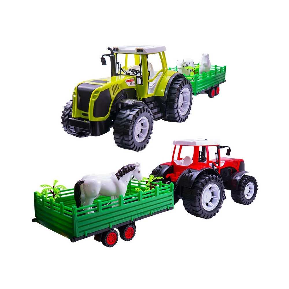 Tractor cu remorca si 2 animale, 54 cm