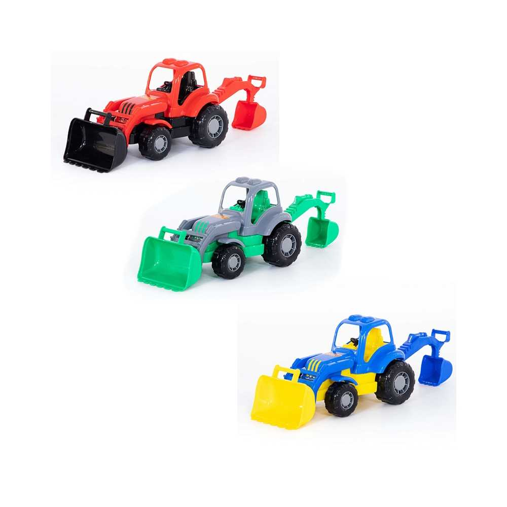 Tractor cu incarcator si excavator - Hardy, 28x13x16 cm, Pol
