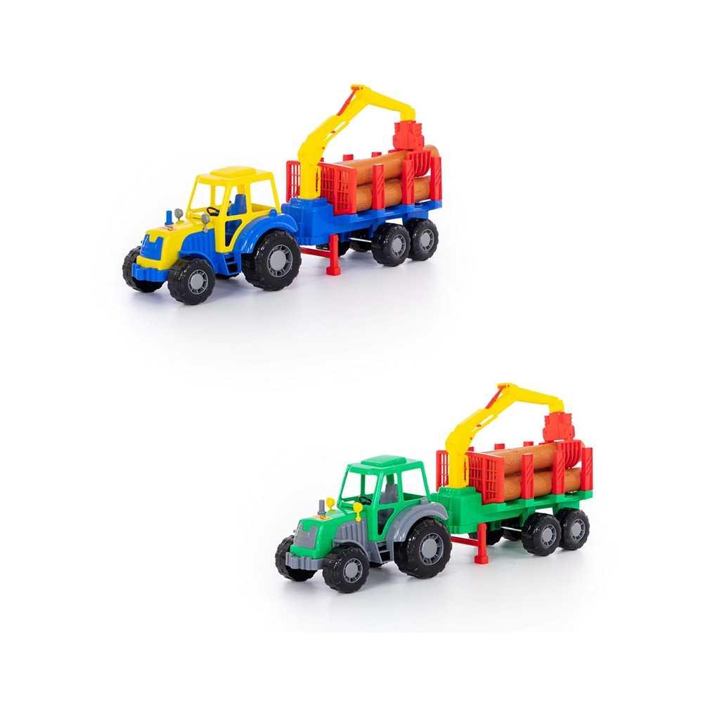 Tractor cu remorca + lemne - Altay, 61x17x25 cm, Polesie