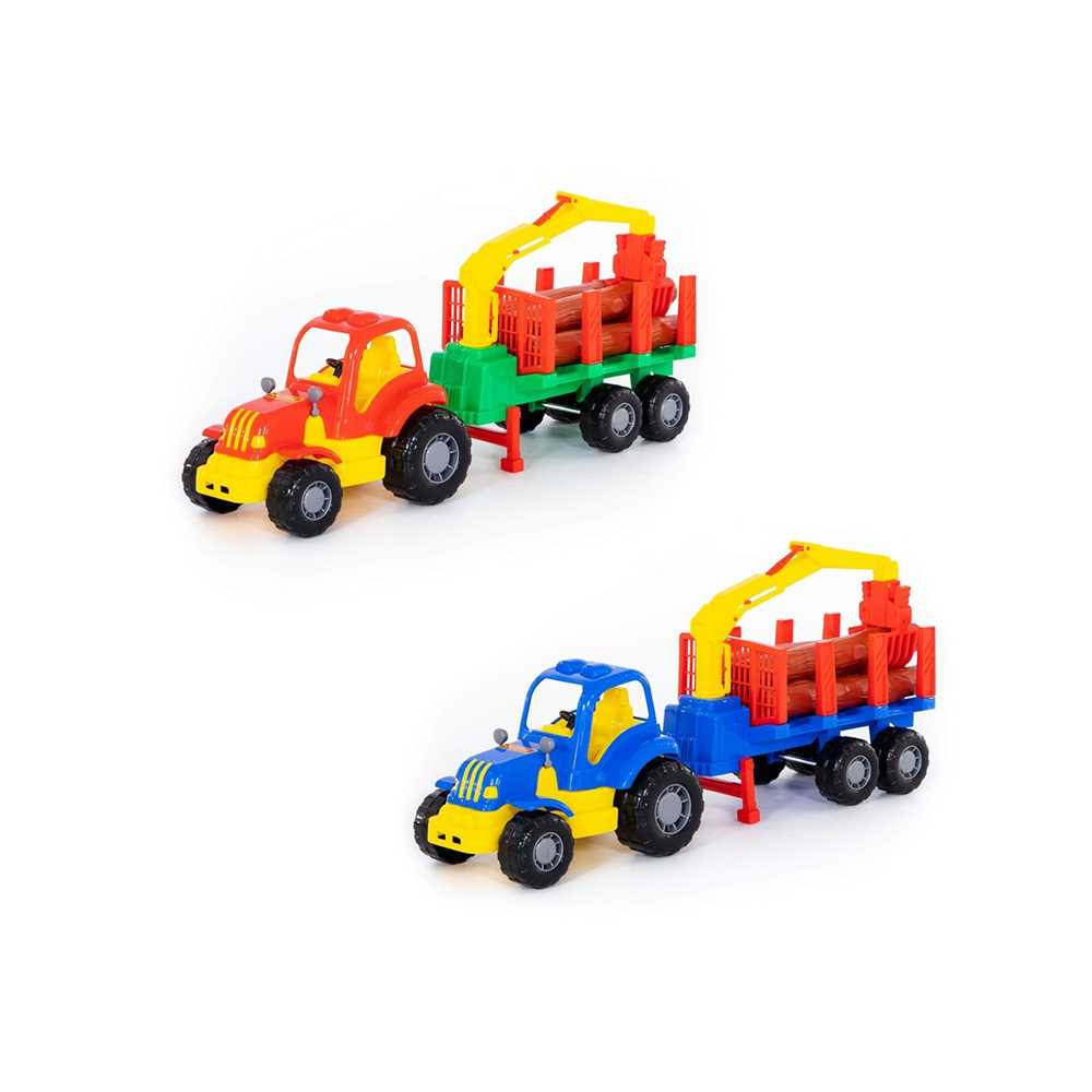 Tractor cu remorca + lemne - Hardy, 48x13x20 cm, Polesie