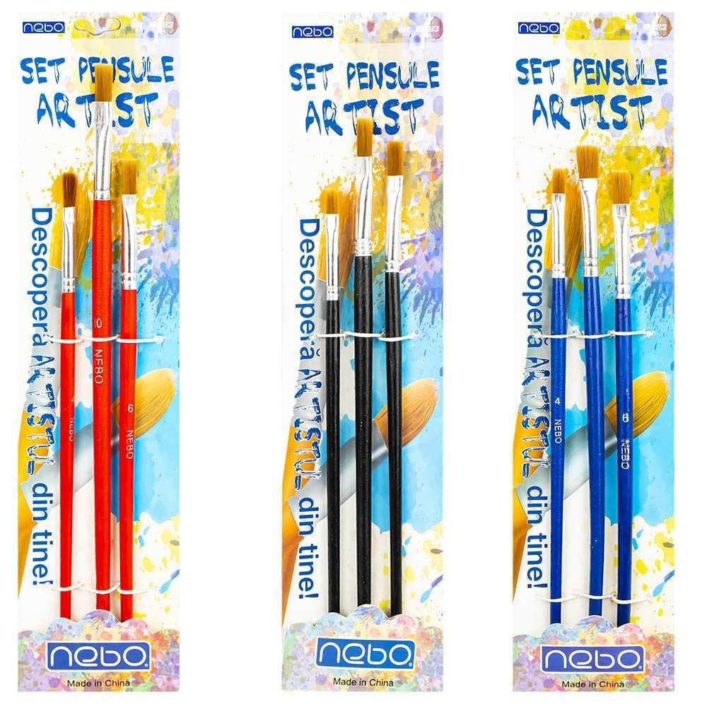 Pensule varf tesit, 3 buc/set - NEBO